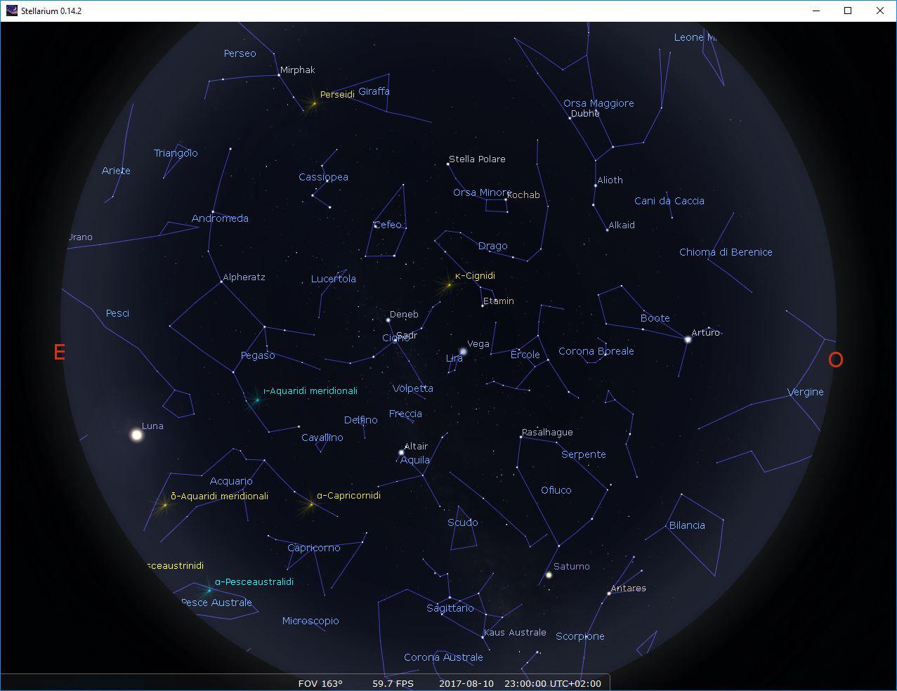 Il cielo del 10 Agosto 2017 nel centro di Roma (clicca sull'immagine per una versione ad alta risoluzione). Courtesy: Stellarium