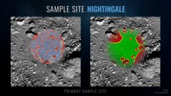 La mappa dei rischi del sito Nightingale sulla superficie di Bennu. Le aree verdi sono le zone ottimali per il touchdown, le aree rosse invece sono le più pericolose. Le zone più promettenti per la raccolta del materiale sono invece evidenziate in viola. Crediti: Nasa/Goddard/University of Arizona